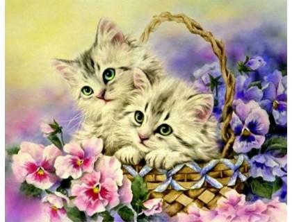 Купить Набор алмазной вышивки Котята в корзинке 38 х 30 см (арт. FS215)