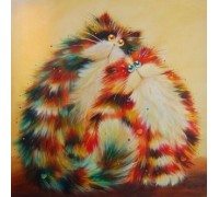 Алмазная вышивка Семья рыжих котов 30 х 30 см (арт. FS221)