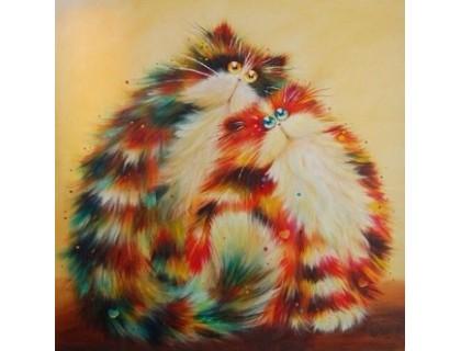 Купить Алмазная вышивка Семья рыжих котов 30 х 30 см (арт. FS221)