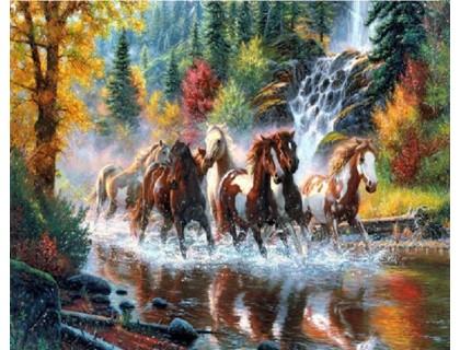 Купить Набор алмазной вышивки Свободные лошади 30 х 40 см (арт. FS229)