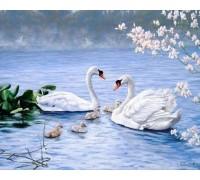 Алмазная вышивка Благородные белые лебеди 50 х 40 см (арт. FS259)