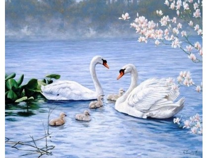 Купить Алмазная вышивка Благородные белые лебеди 50 х 40 см (арт. FS259)