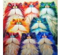 """Набор алмазной вышивки Разноцветные котики 30 х 30 см (арт. FS263) серия """"Котомир"""""""