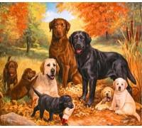 Алмазная мозаика Семейство собак ретриверов 40 х 50 см (арт. FS383)