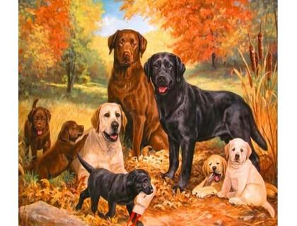 Купить Алмазная мозаика Семейство собак ретриверов 40 х 50 см (арт. FS383)