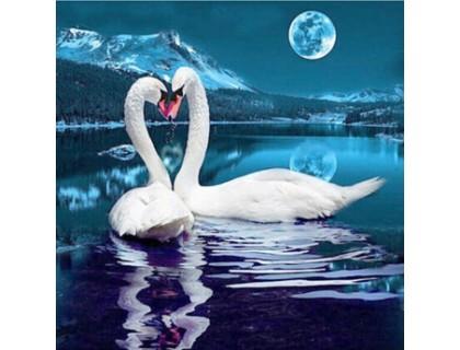 Купить Алмазная мозаика Лебединая песня под луной 40 х 40 см (арт. FS398) квадратные камни