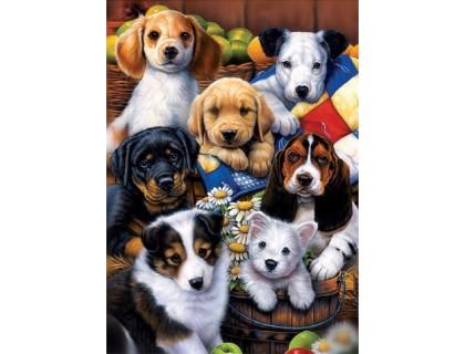 Купить Алмазная вышивка Милые щенки 40 х 30 см (арт. FS412)
