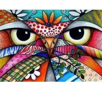 Алмазная мозаика Разноцветная сова 40 х 30 см (арт. FS424) рисование камнями