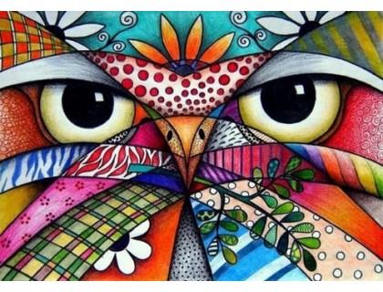 Купить Алмазная мозаика Разноцветная сова 40 х 30 см (арт. FS424) рисование камнями