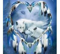 Алмазная мозаика Верные волки 35 х 30 см (арт. FS425) рисование камнями