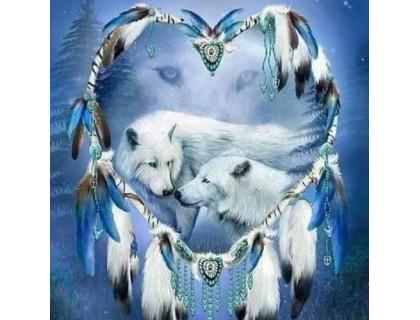 Купить Алмазная мозаика Верные волки 35 х 30 см (арт. FS425) рисование камнями