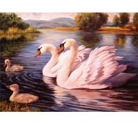 Алмазная вышивка Семейство белых лебедей 30 х 40 см (арт. FS534)