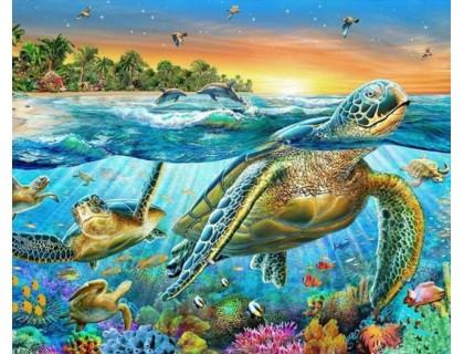 Купить Алмазная вышивка Подводный мир океана 40 х 30 см (арт. FS792)