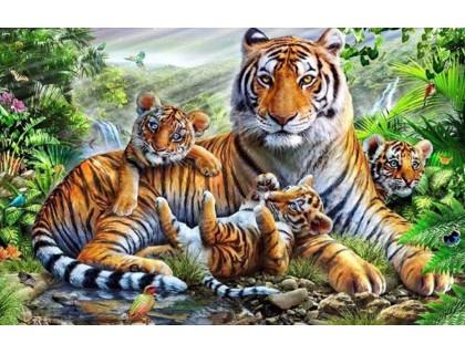 Купить Алмазная вышивка квадратные камни 40 х 50 см Семья тигров и тигрят (арт. FS856)