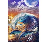 Алмазна мозаїка Дельфіни на хвилях океану 40 х 50 см (арт. FS894)