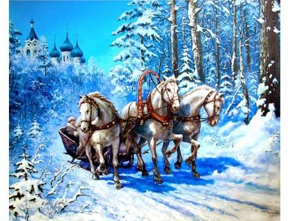 Купить Алмазная вышивка Волна лошадей 30*40 см (арт. FS973)