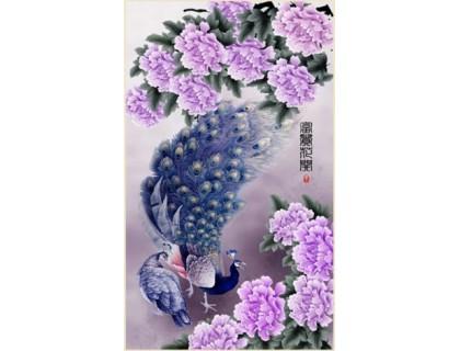 Купить Комплект алмазной вышивки Павлин в цветах 67 х 40 см (арт. PR057) частичная выкладка