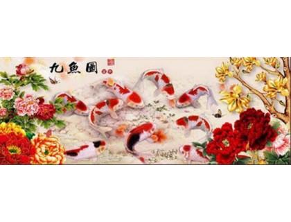 Купить Алмазная мозаика Девять карпов кои 72 х 28 см (арт. PR059) частичная выкладка