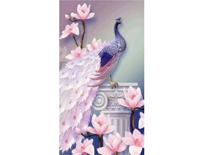 Купить Алмазная вышивка Павлин и орхидеи KLN 50 х 30 см (арт. PR726) частичная выкладка
