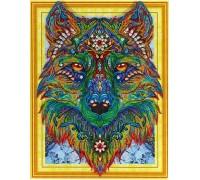 Алмазная вышивка Яркий волк 40 х 50 см (арт. PR865) частичная выкладка