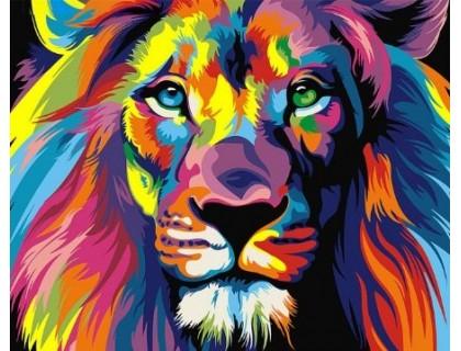 Купить Алмазная вышивка 40 х 50 см на подрамнике Радужный лев (арт. TN702)