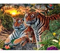 DIY Набор 40 х 50 см для алмазной вышивки на подрамнике Семья тигров в дикой природе (арт. TN130)