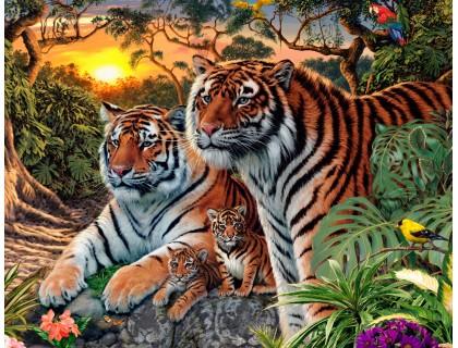 Купить Набор 40 х 50 см для алмазной вышивки на подрамнике Семья тигров в дикой природе (арт. TN130)
