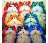 Алмазная вышивка 30 х 30 см на подрамнике Разноцветные котята (арт. TN263)