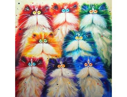 Купить Алмазная вышивка 30 х 30 см на подрамнике Разноцветные котята (арт. TN263)
