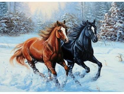 Купить Алмазная вышивка 50 х 40 см на подрамнике Лошади на снегу (арт. TN441)