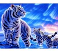 DIY Алмазная вышивка 30 х 40 см на подрамнике Тигрица с детьми (арт. TN472)