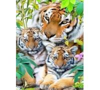 DIY Алмазная вышивка 30 х 40 см на подрамнике Тигрица с тигрятами (арт. TN541)