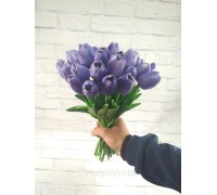 Цветы тюльпаны искусственные фиолетовые 31 шт декор букет DT002