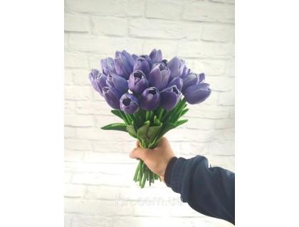 Купить Цветы тюльпаны искусственные фиолетовые 31 шт декор букет DT002