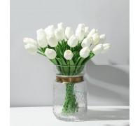 Цветы тюльпаны искусственные белые 31 шт декор букет DT001