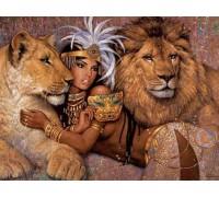 Алмазная вышивка на подрамнике Царица и львы 40*50 см (арт. TN564)