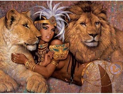 Купить Алмазная вышивка на подрамнике Царица и львы 40*50 см (арт. TN564)