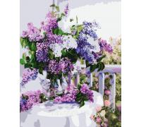 Картина-раскраска Menglei Сирень в стеклянной вазе КН1074 40 х 50 см