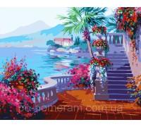 Картина по номерам Menglei КН1094 Набережная в цветах 40 х 50 см