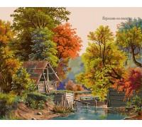 Картина по номерам Babylon Осенний этюд с плотиной VP173 40 х 50 см