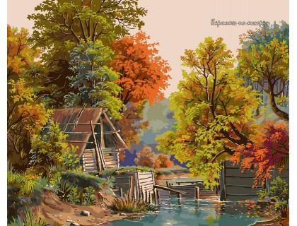 Купить Картина по номерам Babylon Осенний этюд с плотиной VP173 40 х 50 см