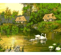 Картина по номерам Babylon Лебединая семья VP195 40 х 50 см