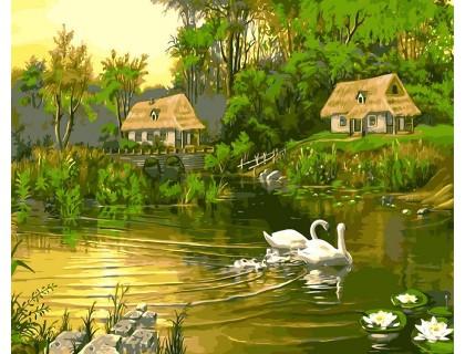 Купить Картина по номерам Babylon Лебединая семья VP195 40 х 50 см