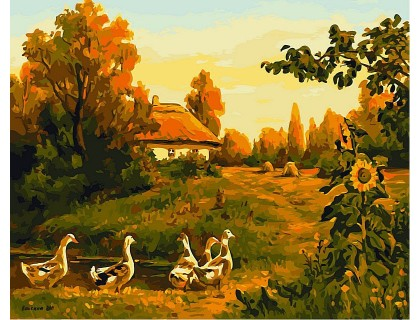 Купить Картина по номерам Babylon VP495 Закат солнца в селе 40 х 50 см