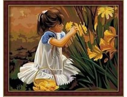 Купить Картина по номерам Menglei Девочка, которая собирает букет КН030 40 х 50 см