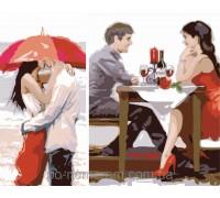Картина по номерам Menglei Диптих Первое свидание (2 картины, 40х20, 40х30см) (KH2617)