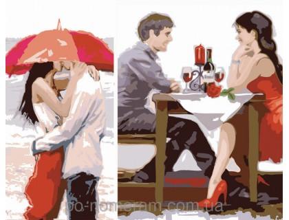 Купить Картина по номерам Menglei Диптих Первое свидание (2 картины, 40х20, 40х30см) (KH2617)