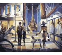 Картина по номерам без коробки Идейка КНО2124 Прогулка по вечернему Парижу 40 х 50 см
