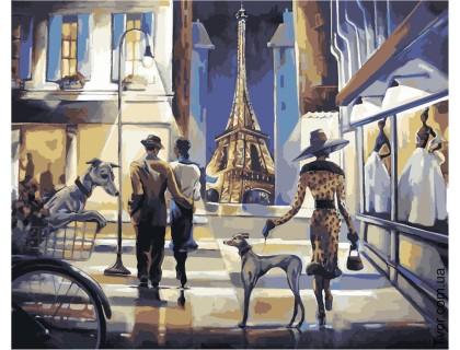 Купить Картина по номерам без коробки Идейка КНО2124 Прогулка по вечернему Парижу 40 х 50 см