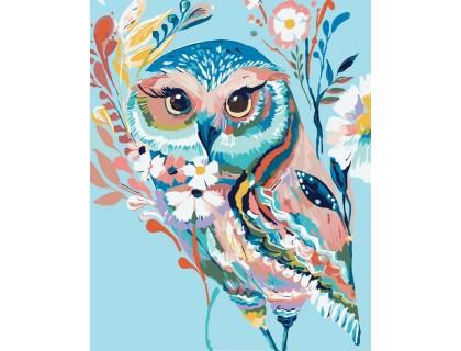 Купить Картина-раскраска Идейка Очаровательная сова (арт. KH2471) 40 х 50 см